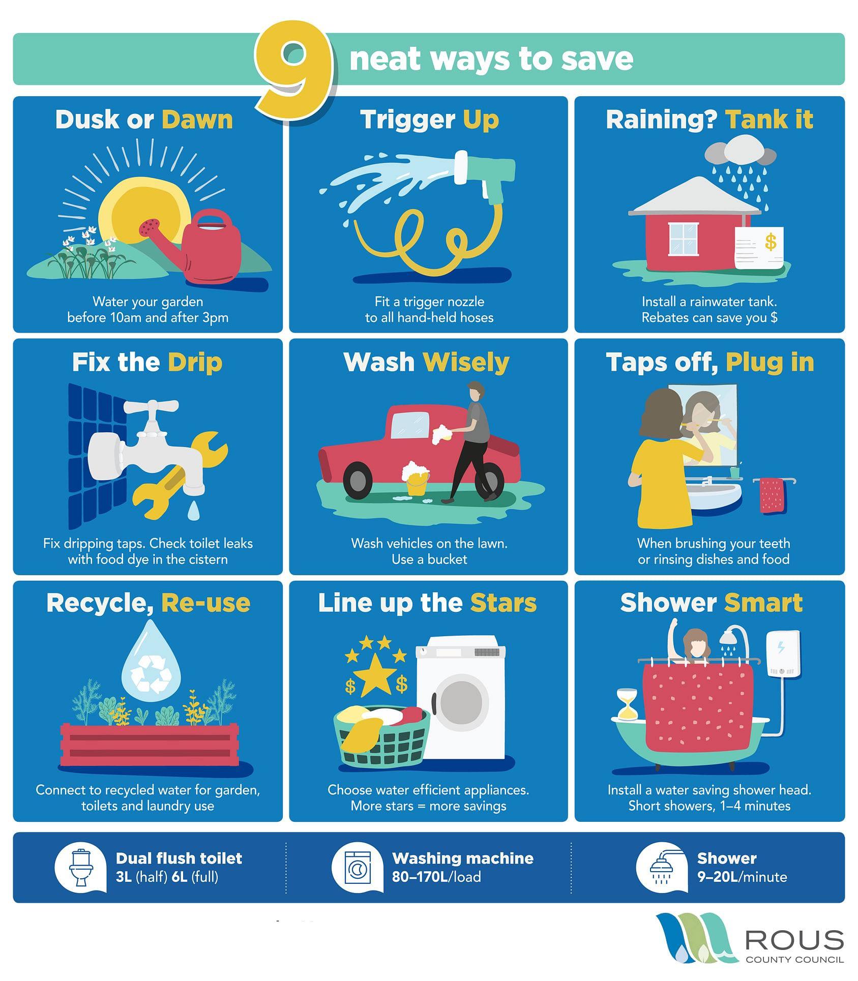 Nine neat ways to save water